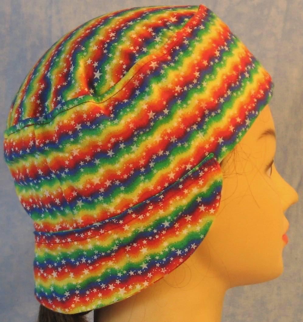 Welding Cap-Rainbow Zigzag Stars-Adult M