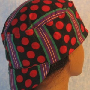 Welding Cap in Red Polka Dots Green Purple Yellow Stripe-back