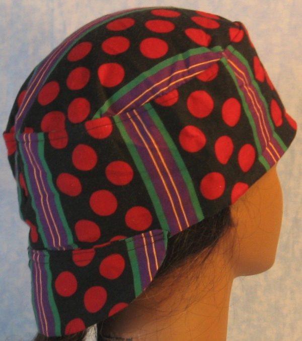 Welding Cap in Red Polka Dots Green Purple Yellow Stripe-back