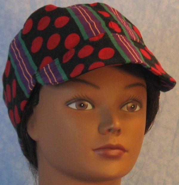 Welding Cap in Red Polka Dots Green Purple Yellow Stripe-bill front