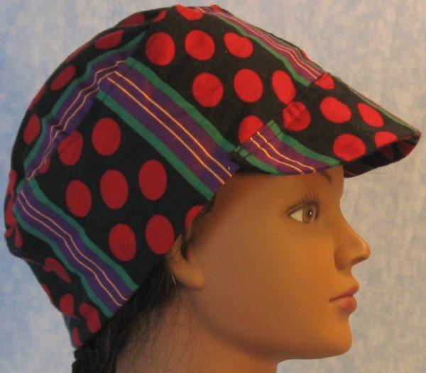 Welding Cap in Red Polka Dots Green Purple Yellow Stripe-bill side
