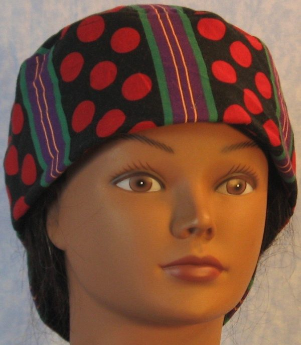 Welding Cap in Red Polka Dots Green Purple Yellow Stripe-front
