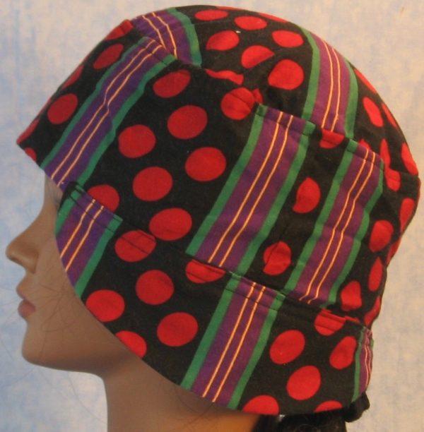 Welding Cap in Red Polka Dots Green Purple Yellow Stripe-side