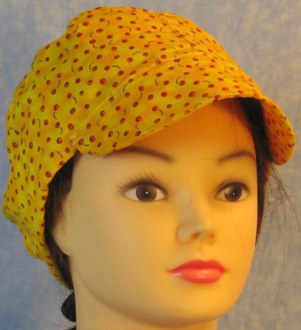 Welding Cap in Small Red Apples on Yellow-bill front