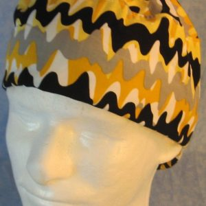 Welding Cap in Yellow Gray Black Paint Squiggle-front top