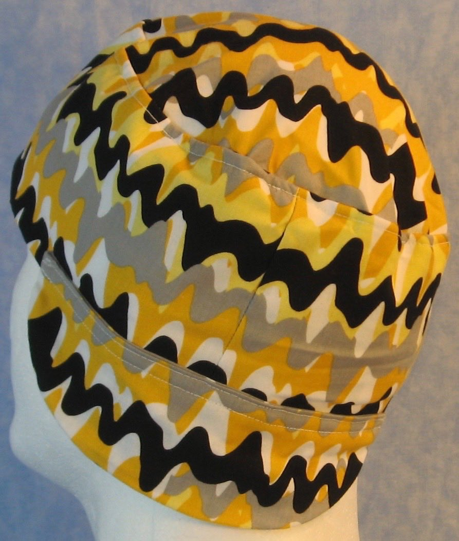 Welding Cap-Yellow Gray Black Paint Squiggle-Adult 1XL