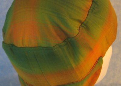 Welding Cap in Yellow Green Plaid Shirting-back