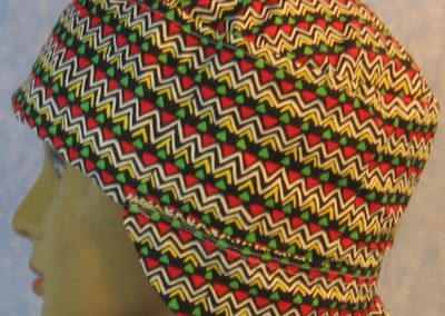 Welding Cap in Yellow Zigzag Red Green Triangle-side