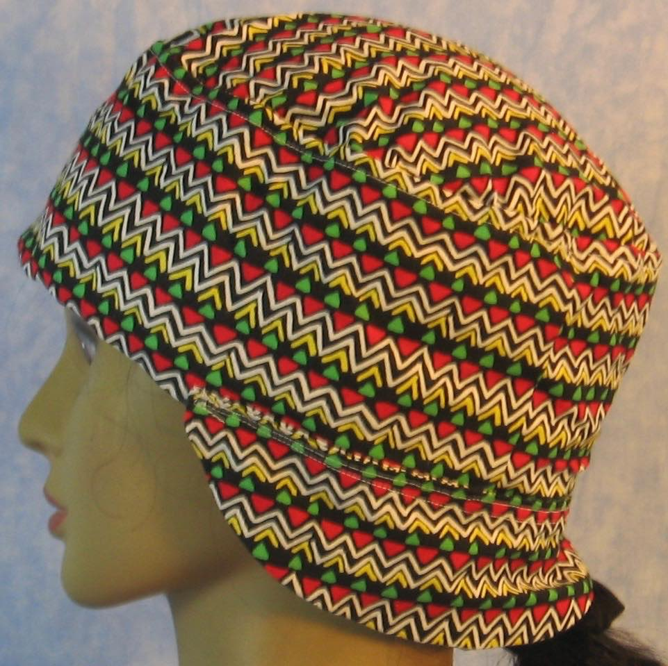 Welding Cap-Yellow Zigzag Red Green Triangle-Adult 1XL
