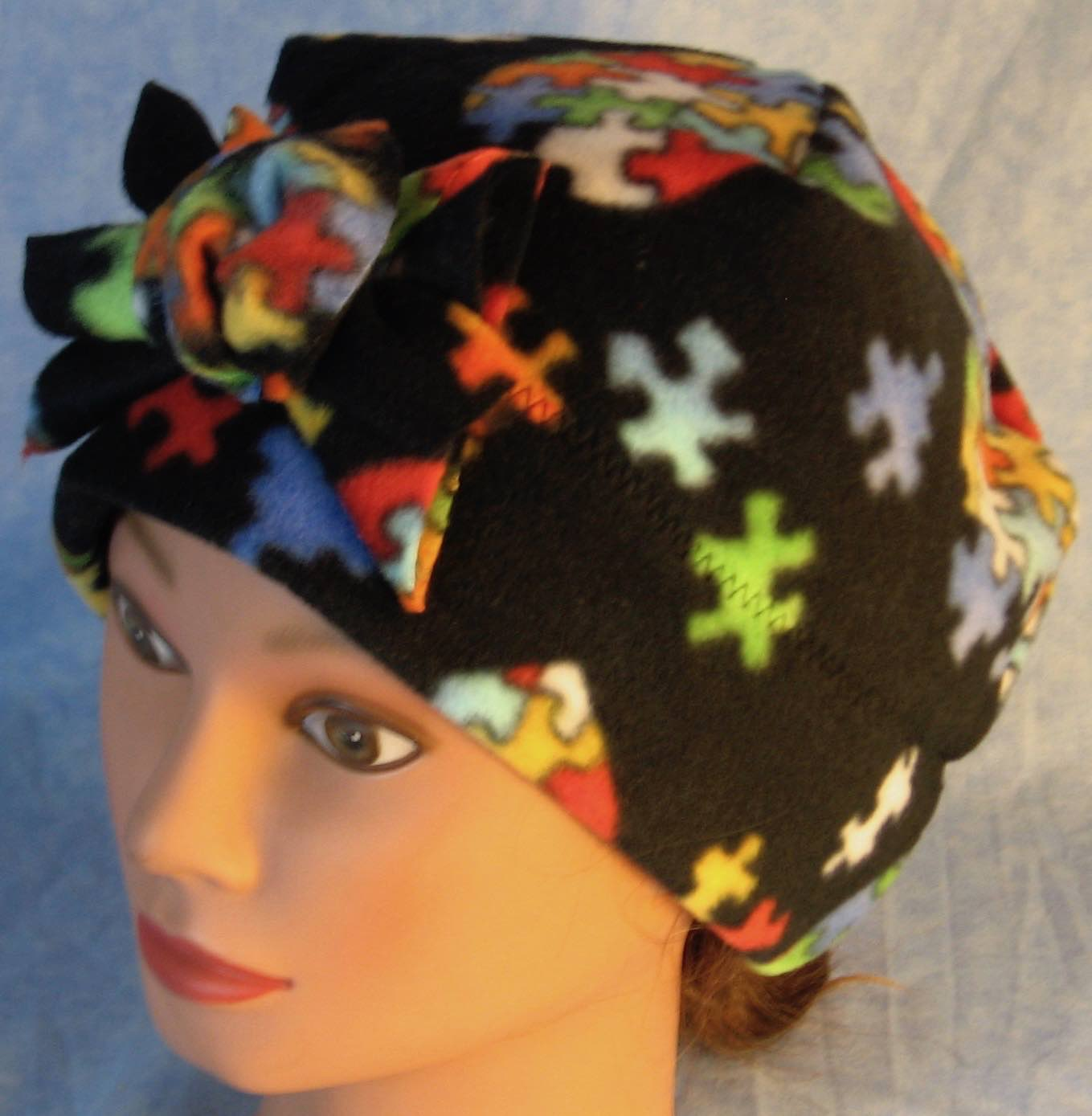 Beanie Band Flower Cap in Autism Awareness-Adult L