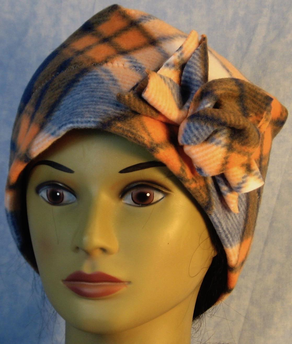 Beanie Band Flower Cap in Blue Orange Plaid-Adult L