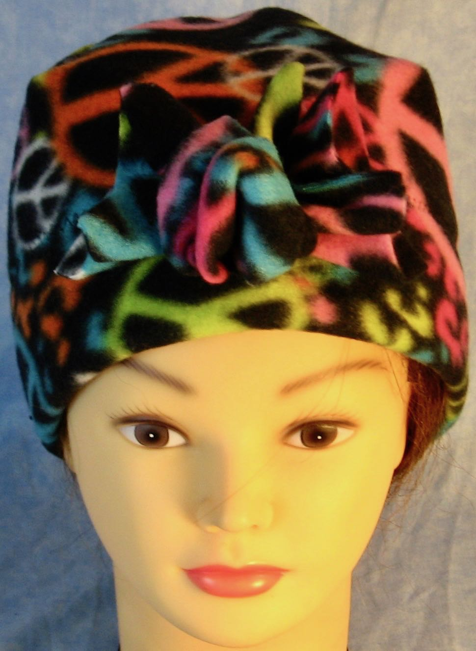 Beanie Flower-Peace on Black-front top