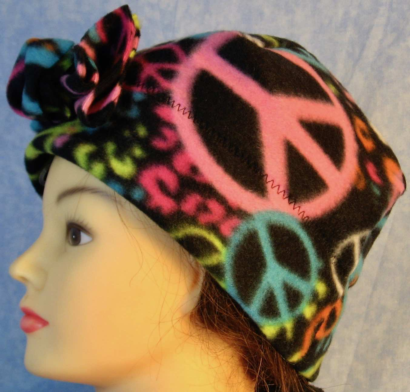 Beanie Band Flower Cap in Peace on Black-Adult M