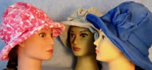 Cloche on Three Pink Flower Gray Blue