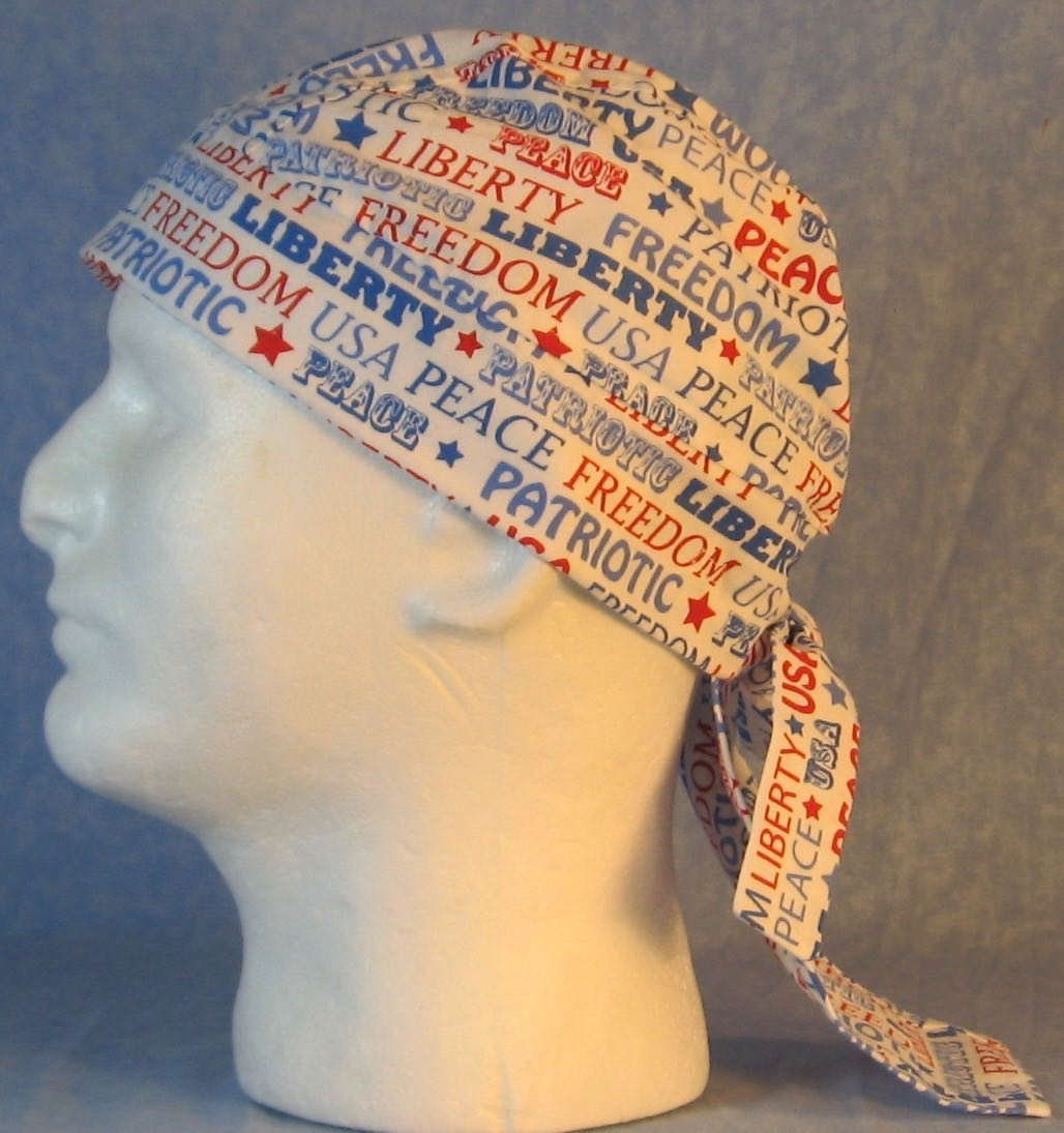 Do Rag in Freedom Liberty Red White Blue Words-Adult M-XL