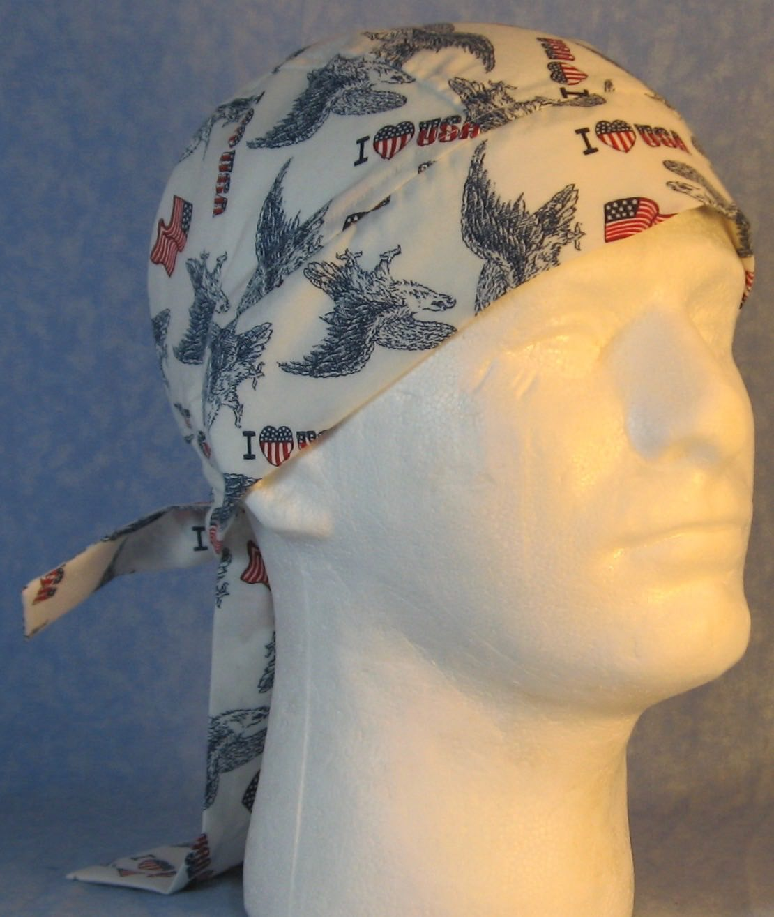 "Do Rag in I ""Heart"" USA and Blue Eagle-Adult M-XL"