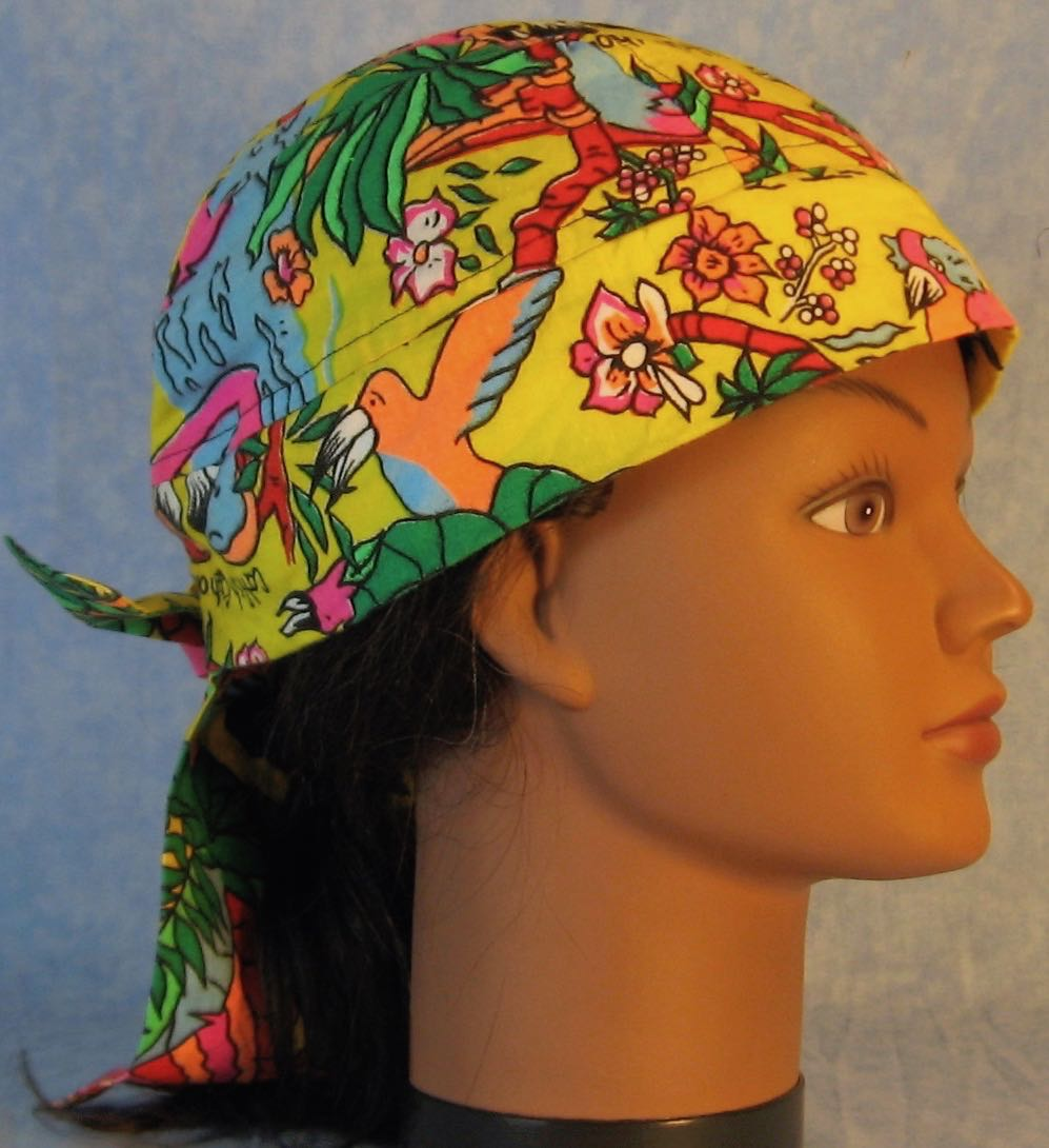 Do Rag in Pink Blue Birds Trees on Yellow-Adult M-XL