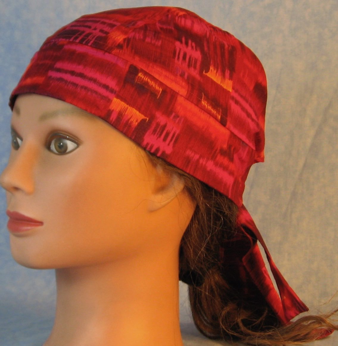 Do Rag in Pink Rose Orange Blocks-Youth L-XL-Adult S