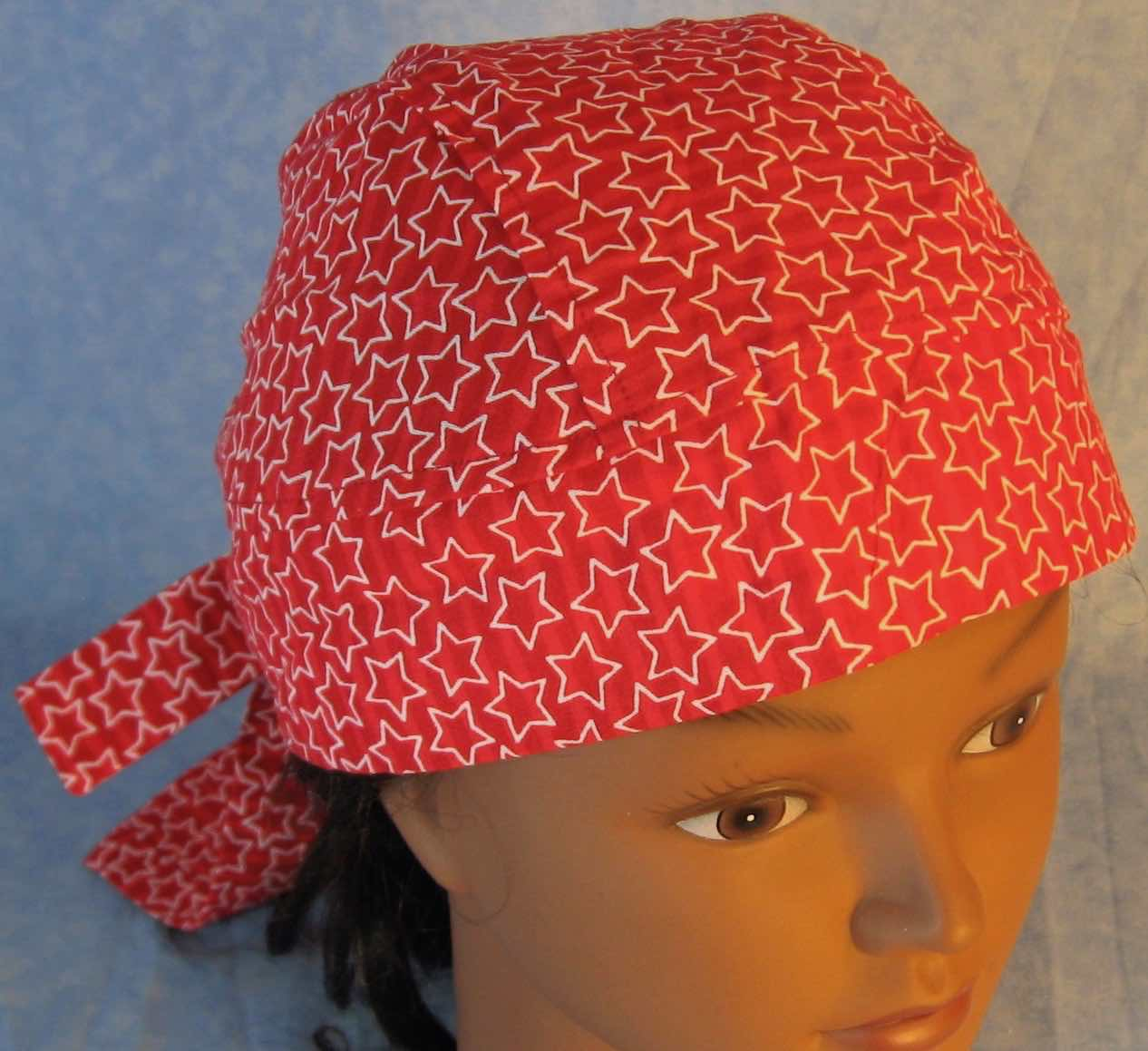 Do Rag in Red Red Stripe with White Line Stars-Adult M-XL