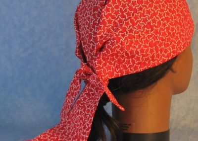 Do Rag in Red Red Stripe with White Line Stars-right back