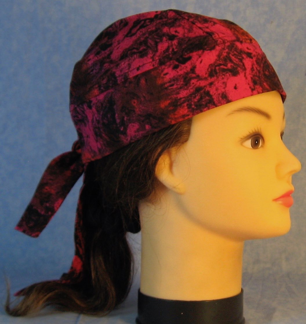 Do Rag in Red Rose Black Oily Swirls-Youth L-XL-Adult S