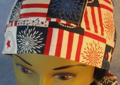 Do Rag in Red White Blue Fireworks Stars Stripe Lattice-front