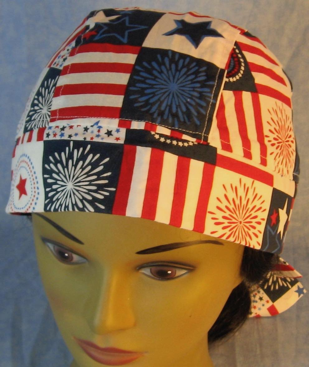 Do Rag in Red White Blue Fireworks Stars Stripe Lattice-Adult 1XL-3XL