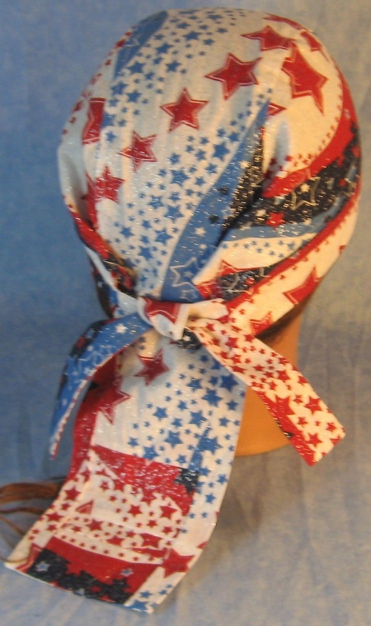 Do Rag-Red White Blue Wave Stars-back