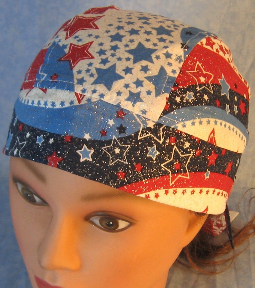 Do Rag-Red White Blue Wave Stars-front top