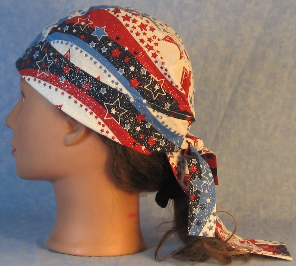 Do Rag-Red White Blue Wave Stars-left