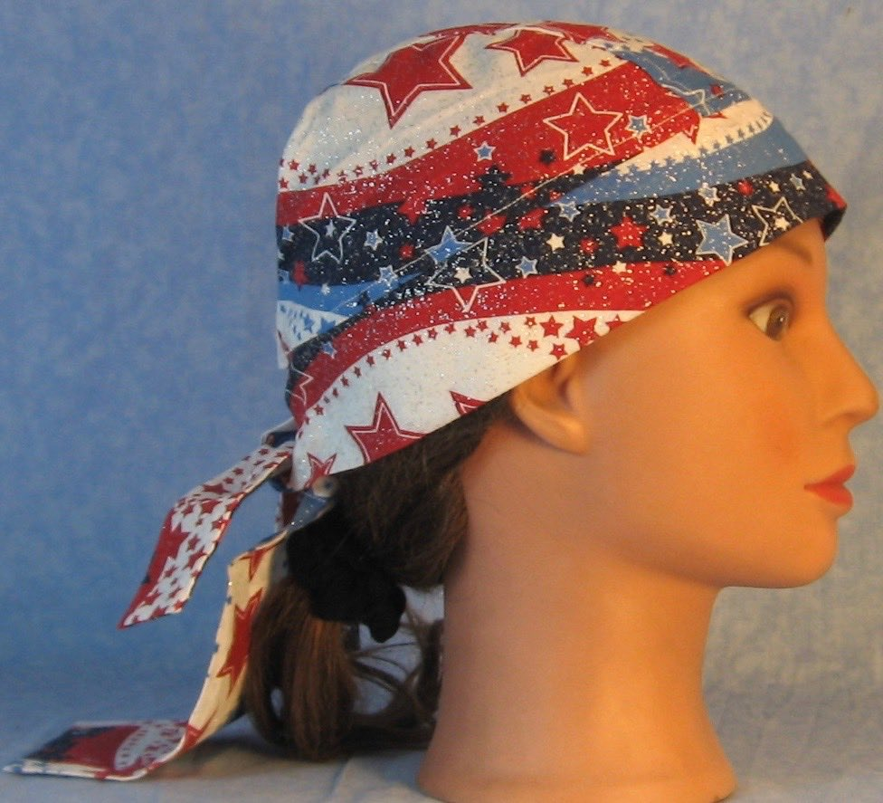 Do Rag in Red White Blue Wave Stars-Youth L-XL-Adult S