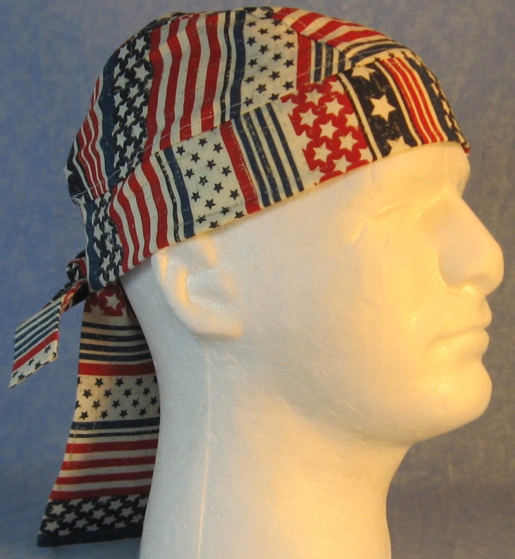 Do Rag in Red White Stripes Blue White Star-Youth L-XL-Adult S
