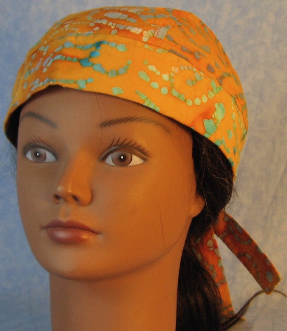 Do Rag in Green Purple Dotted on Orange Batik-Adult M-XL