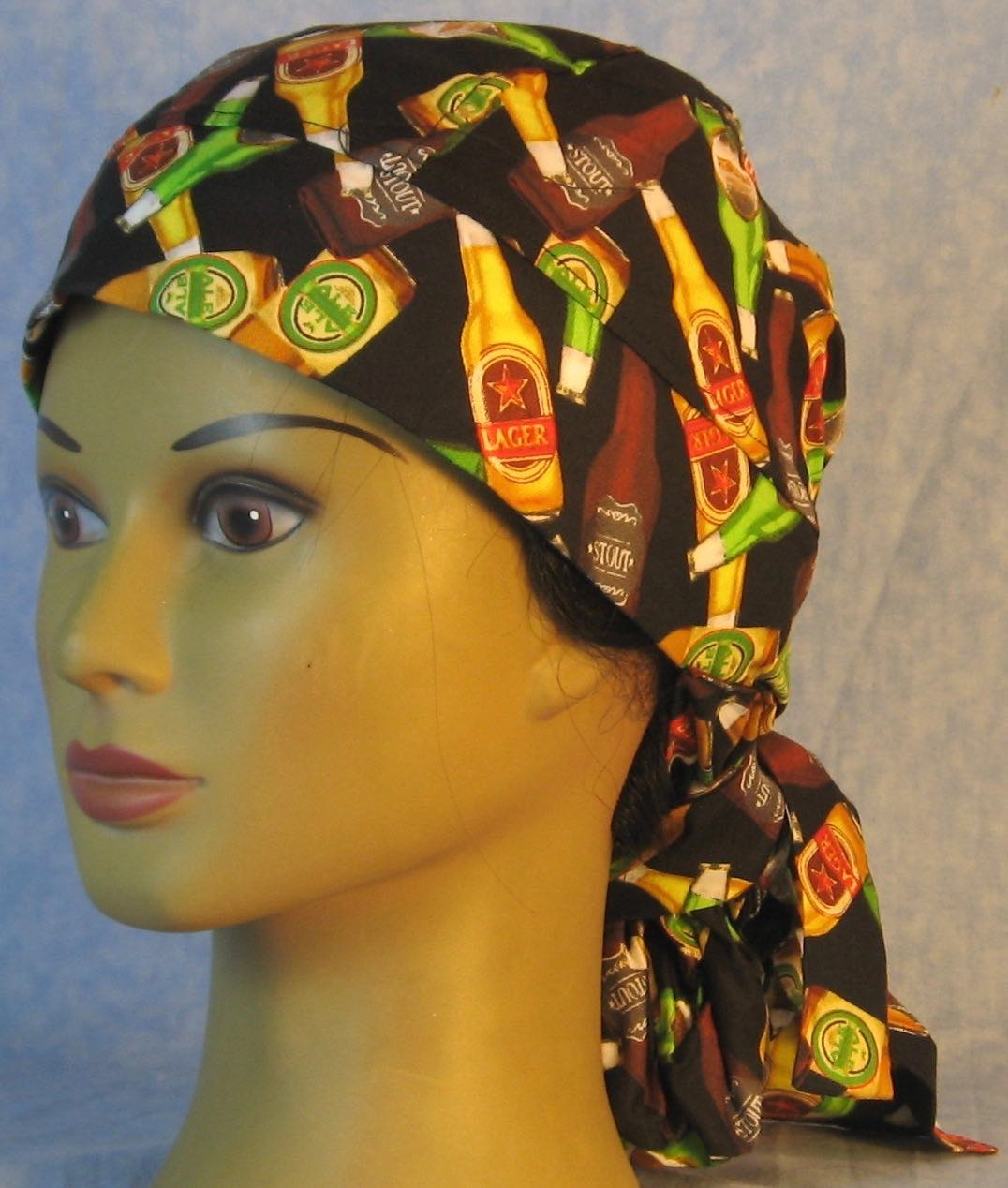 Hair Bag Do Rag in Beer Bottles on Black - Adult 1XL-3XL