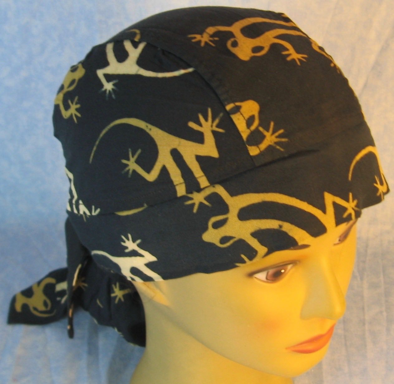 Hair Bag Do Rag in Brown Lizard on Black - Adult M-XL
