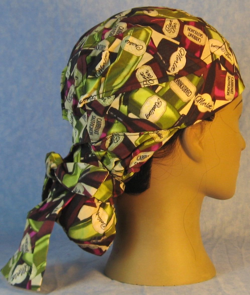 Hair Bag Do Rag in Green Purple Wine Bottles - Adult M-XL