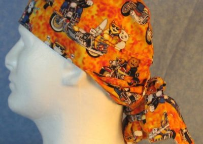 Hair Bag in Motorcycle Cats on Yellow Orange-left