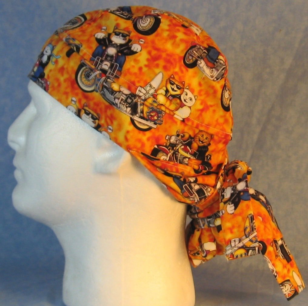Hair Bag Do Rag in Motorcycle Cats on Yellow Orange - Adult M-XL