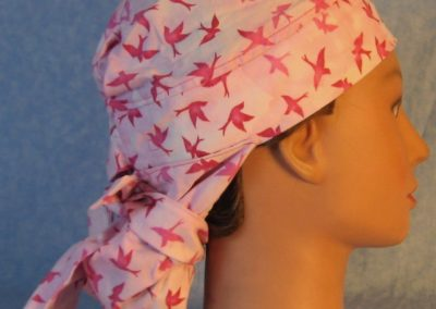 Hair Bag in Pink Birds on Light Pink-right