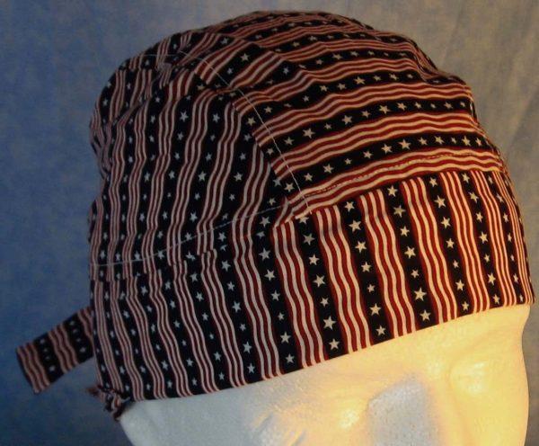 Hair Bag in Red White Stripes White Star Blue Stripe-closeup