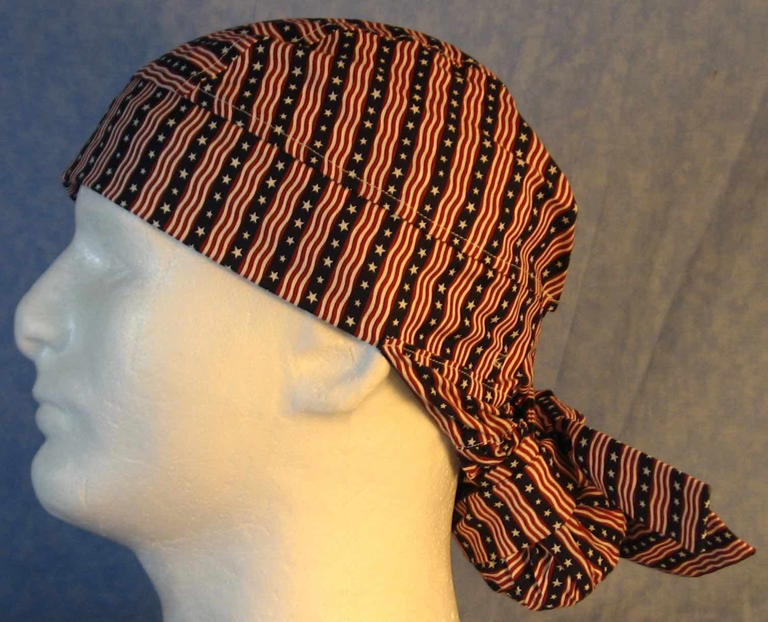 Hair Bag Do Rag in Red White Stripes White Star Blue Stripe Wavy - Adult M-XL