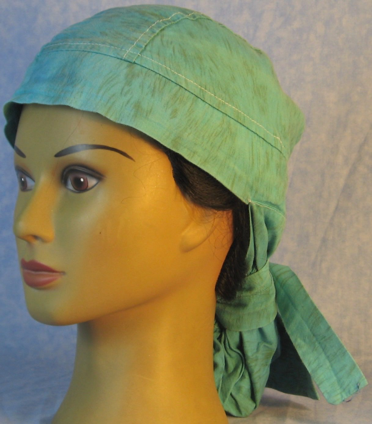 Hair Bag Do Rag in Turquoise Brown Brush Hand Dye - Adult 1XL-3XL