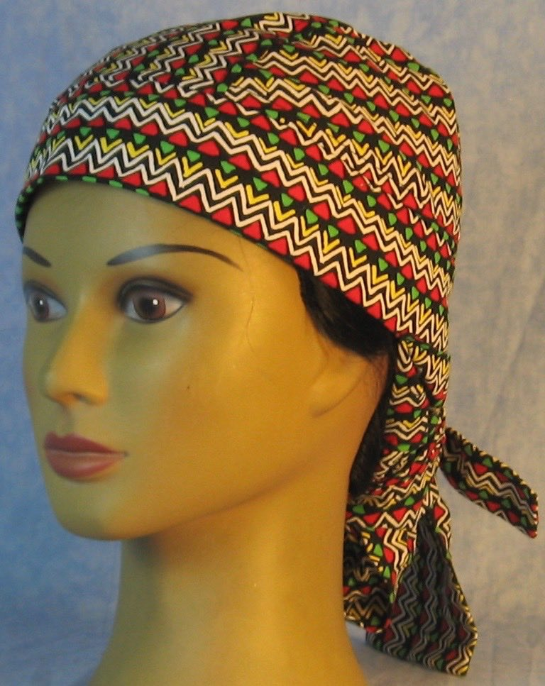 Hair Bag Do Rag in White Yellow Zigzag Red Green Triangles - Adult M-XL