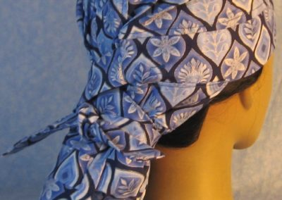 Hair Stocking in Blue Silver Curved Triangle on Navy-back