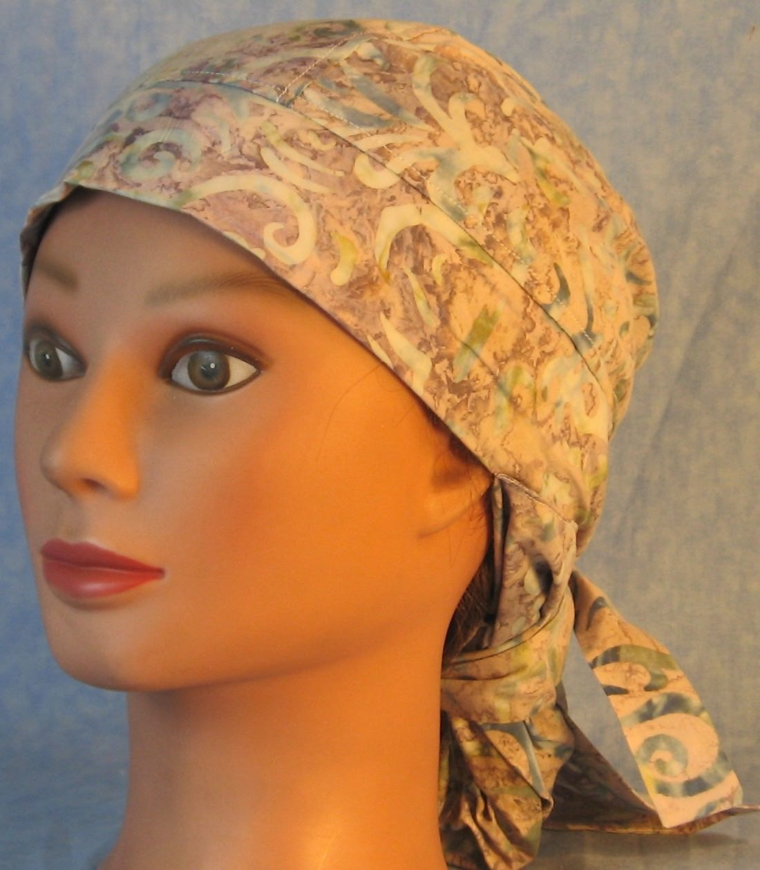 Hair Stocking Do Rag in Blue Tan with Sparkle Tail Batik - Adult 1XL-3XL