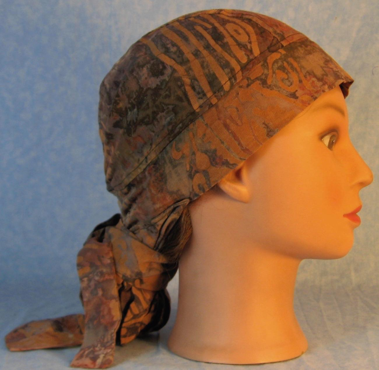 Hair Stocking Do Rag in Brown Gray Dyed With Brown - Adult 1XL-3XL