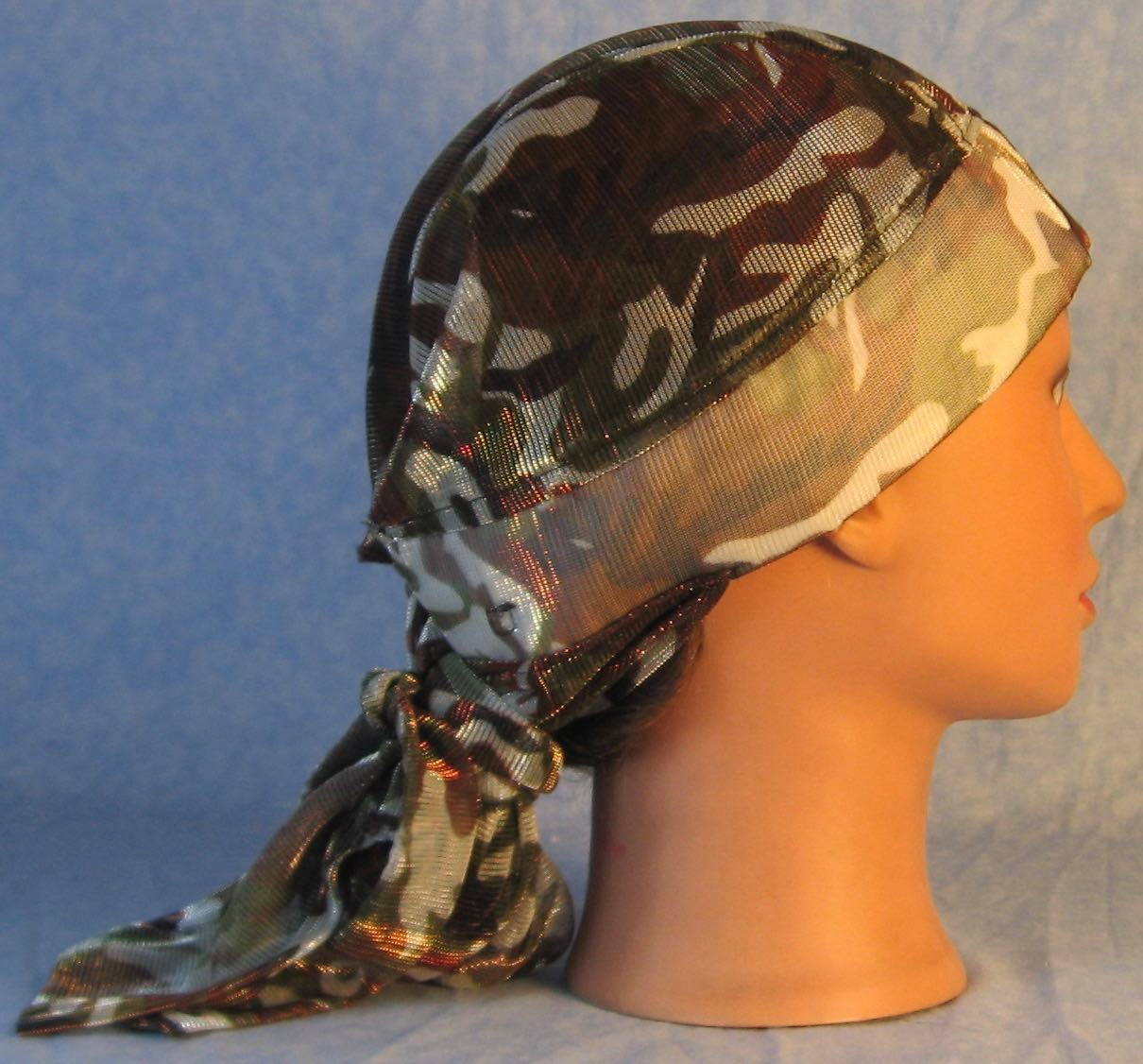 Hair Stocking Do Rag in Brown Olive Camo Sheer - Adult 1XL-3XL
