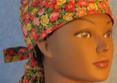 Hair Stocking in Orange Yellow Pink Poppies-front