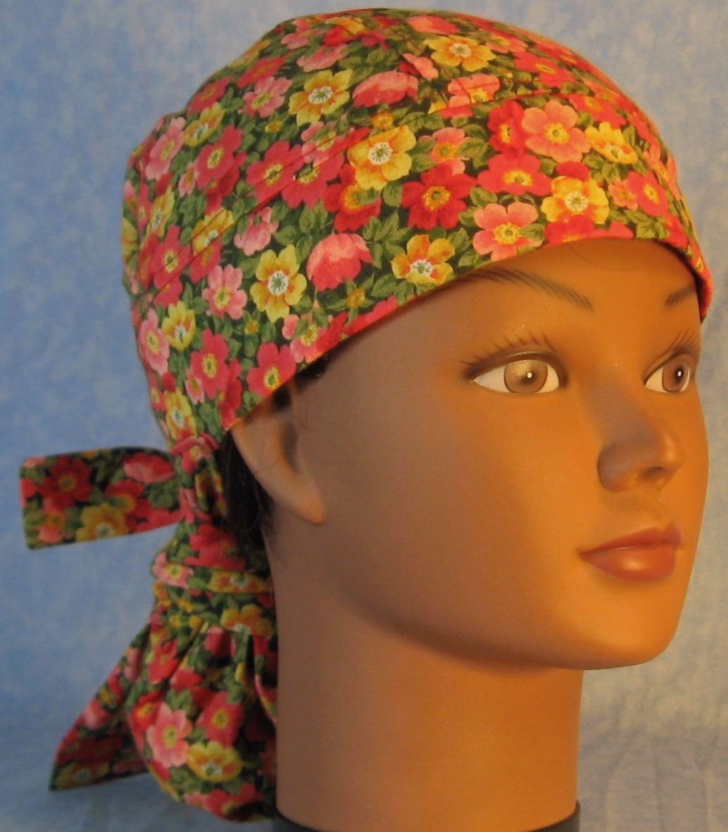 Hair Stocking Do Rag in Orange Yellow Pink Poppies - Adult M-XL