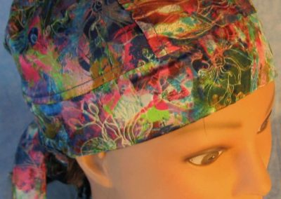 Hair Stocking in Pink Blue with White Flower Silk-closeup